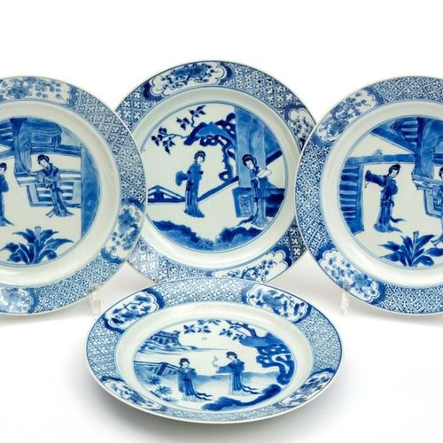 Four blue and white Long Eliza plates Four blue and white Long Eliza plates, Kan…
