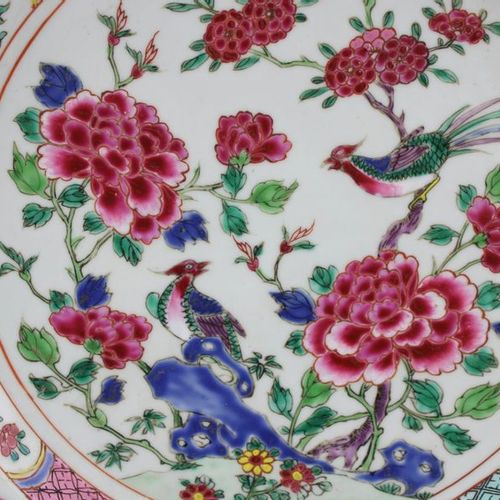 Two large famille rose bird plates Two large famille rose bird plates, Yongzheng…