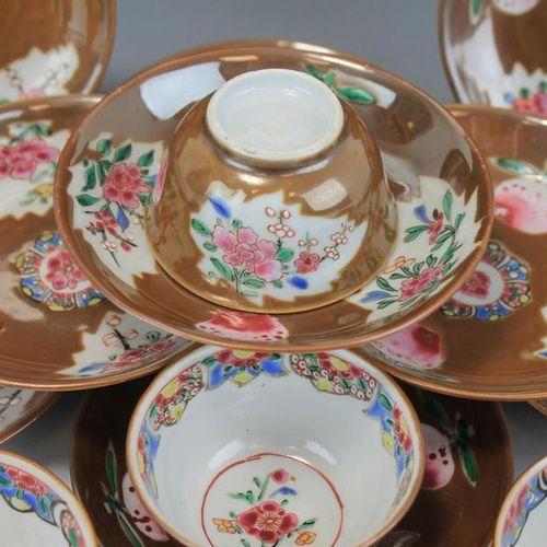 A Batavia glaze famille rose set of cups and saucers A Batavia glaze famille ros…