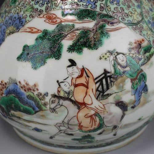 A famille verte vase A famille verte vase, Ca. 19th century, China, A pear shape…