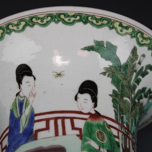 A gu form famille verte vase A gu form famille verte vase, ca. 19th century, Chi…