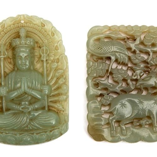 Two pieces of Jade: a Buddha pendant and amulet. Two pieces of Jade: a Buddha pe…