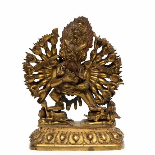 A gilt bronze figure of Vajrabhara and Vajra Vetali A gilt bronze figure of Vajr…