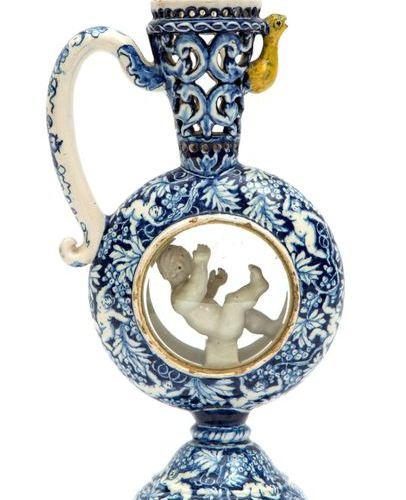 """A Delft pottery """"Hansje in de kelder"""" ornamental jug A Delft pottery """"Hansje in …"""
