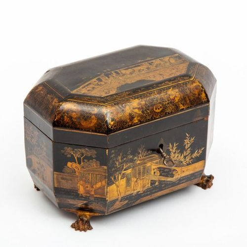 A Chinese export black and gilt lacquered tea caddy A Chinese export black and g…