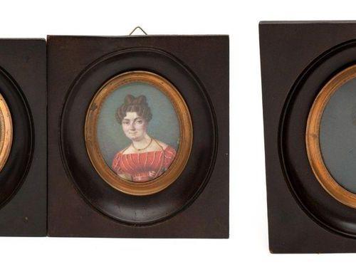 Three portrait miniatures related to Georgina Francina Elgin (1789 1852) Trois p…