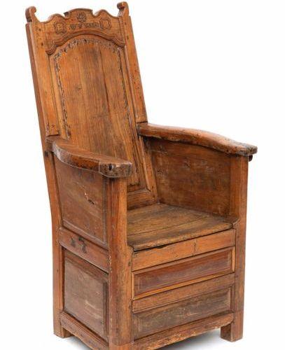 A North European fruitwood box seated chair, 'bakstoel' A North European fruitwo…