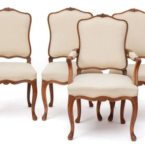 A set of Dutch Louis XV mahogany chairs Ensemble de chaises hollandaises Louis X…