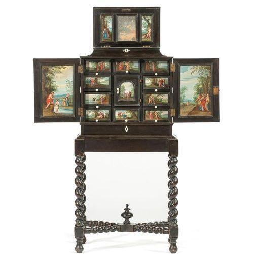 A Flemish ebony cabinet, inset with painted panels Un cabinet flamand en ébène, …