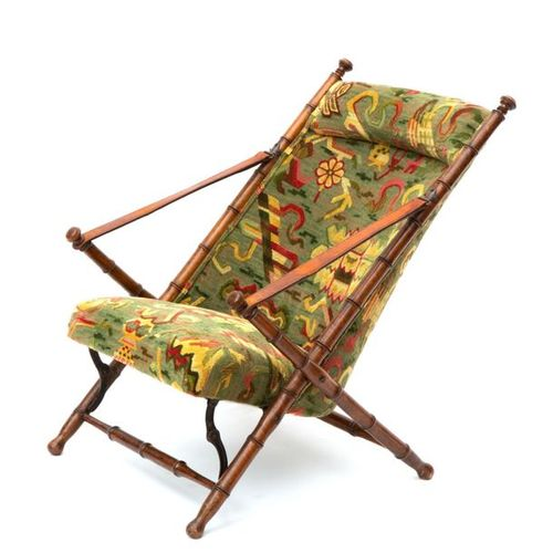 A French walnut faux bamboo folding chair A French walnut faux bamboo folding ch…