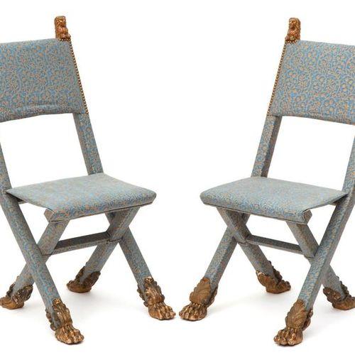 A pair of upholstered folding chairs Paire de chaises pliantes rembourrées, 19èm…