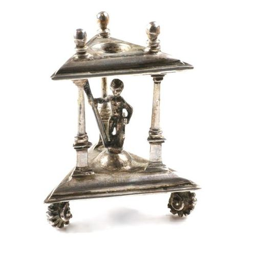 A Dutch silver salt cellar A Dutch silver salt cellar A rare model. Two triangle…