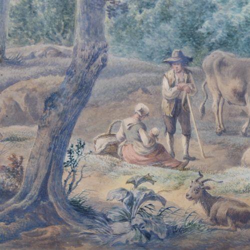 Hollandse School (19e eeuw) Hollandse School (19e eeuw), Herders met vee in een …