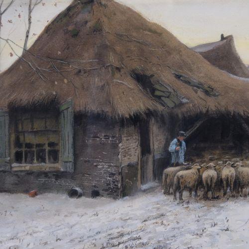 Tinus de Jong (1885 1942) Tinus de Jong (1885 1942), Herder met kudde bij winter…
