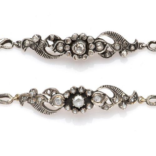 Two 14k gold and silver diamond bracelets Deux bracelets en diamant en or et arg…