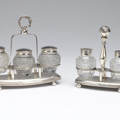 Two Dutch cut glass and silver ink stands, Pieter Pieterse, Amsterdam Deux encri…