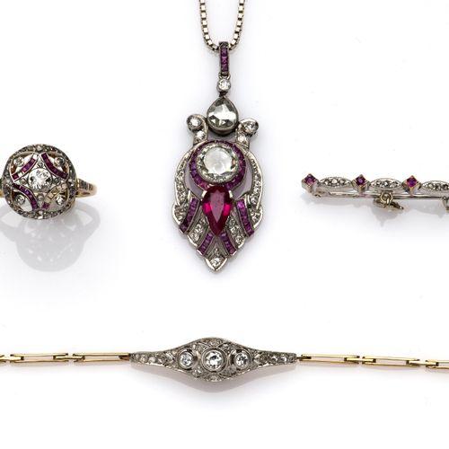 A collection of ruby and diamond jewellery Collection de bijoux en rubis et diam…