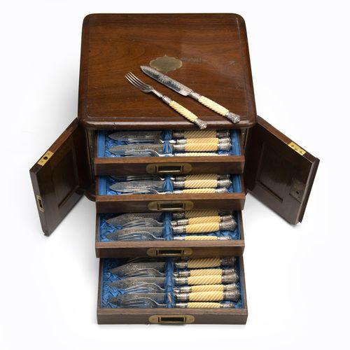 An English set of flatware in wooden canteen 一套英国的木制水壶餐具,有螺旋形的凹槽手柄,部分是金属材质。鱼叉和刀以…