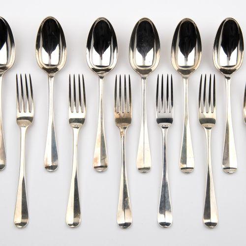 Six Dutch silver table spoons and table forks 六个荷兰银质餐勺和餐叉,一个普通的荷兰模型。制作者Widow H. …