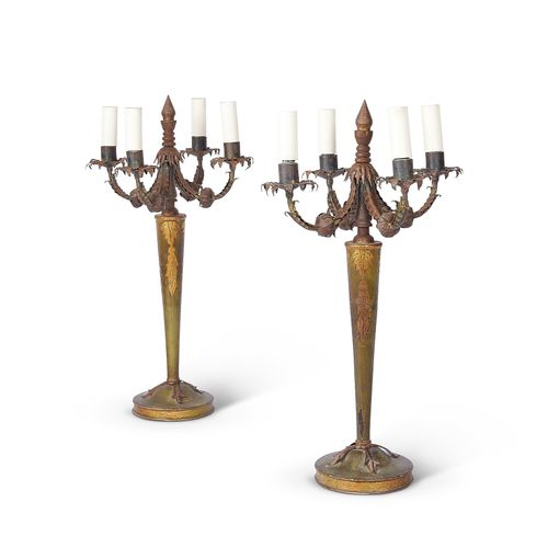 A pair of 1950's green japanned and gilt metal four light candelabra table lamps…