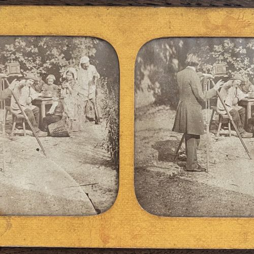 French stereo photographer Taking pictures outdoor with a tripod, c. 1860 Albume…