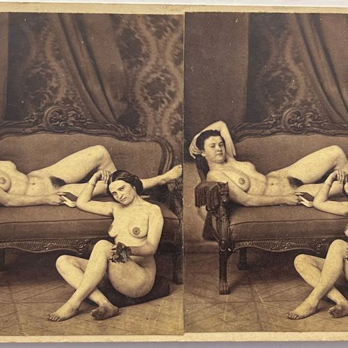 French stereo photographer Interrupted reading Paris, 1860s Pair of albumen prin…