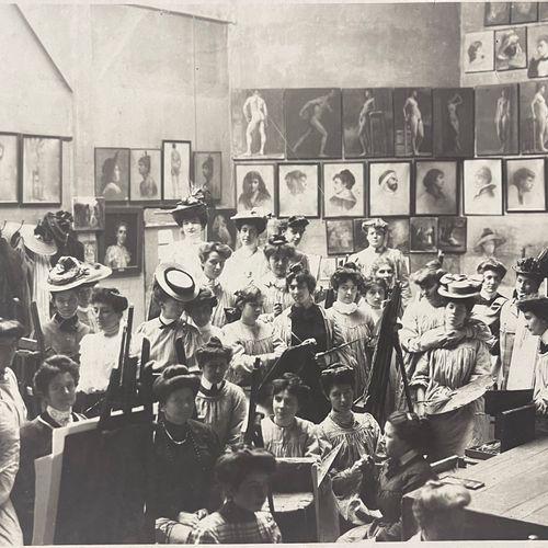 Alfred Machin (1877 1929) Academie Julian for Women, Paris, c. 1911 Vintage silv…