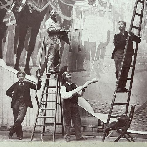 Painting a Diorama for the Paris Exposition Universelle, 1900 Vintage citrate pr…