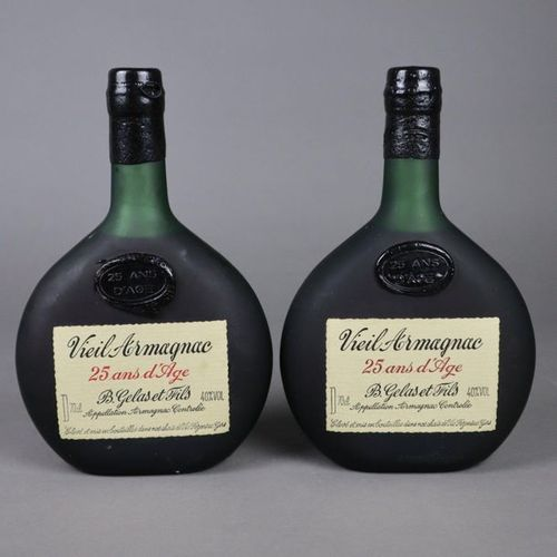 """Zwei Flaschen Armagnac """"Vieil Armagnac, 25 Ans d'Age, B. Gelas et Fils"""" , Vic Fe…"""