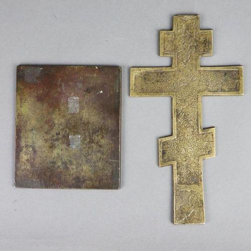 Segenskreuz und Reiseikone Russland, 19.Jh., Bronzelegierung, 1x Segenskreuz mit…