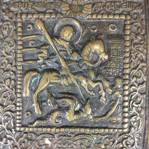 Reiseikone Russland, 19.Jh., Gelbguss, reliefierte Darstellung des Heiligen Geor…