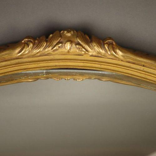 Wandspiegel Holz/Stuck, ovale Form mit Reliefdekor, vergoldet, min. Bestoßen, ca…