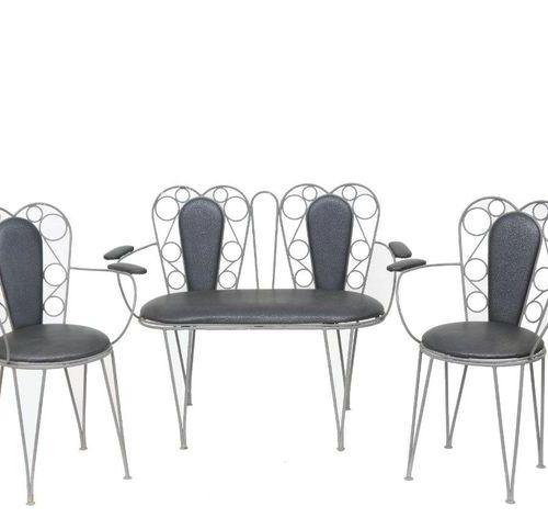 Salon en fer forgé gris paire de chaises 38X85, paire de fauteuils 85X61,  Canap…