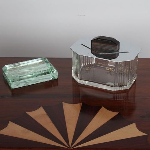 Cake box, ebony glass and socket, and paperweight. 18X12