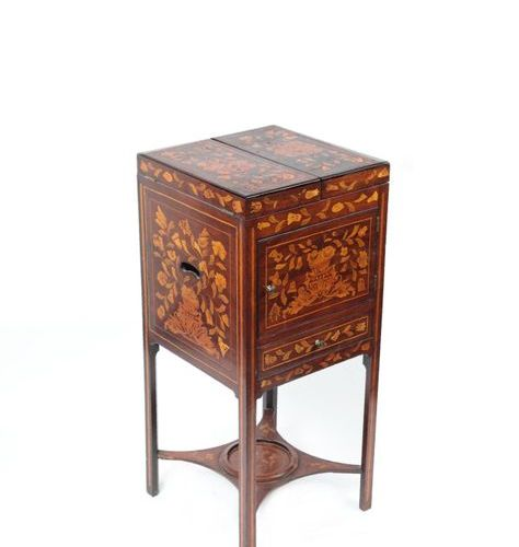 Mahogany veneered utility furniture, floral marquetry on all sides and shelves. …