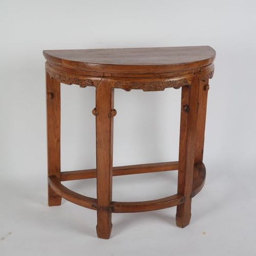 CHINA, Half moon console, carved belt in natural wood. 83X49X85