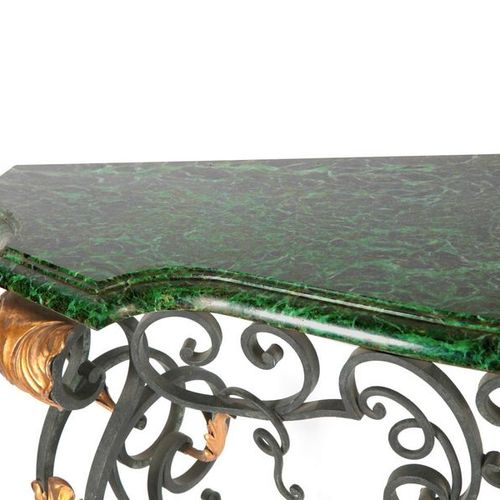 Large wrought iron console, very elaborate, antique green marble top. 155X90X4