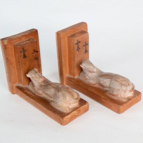 BLANCHOT (?) Denis, pair of bookends decorated with ermine, ochre patina, signed…