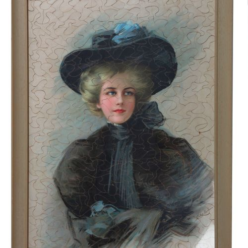French school of the XIXth c., portrait of a young woman with a hat, puzzle, chr…