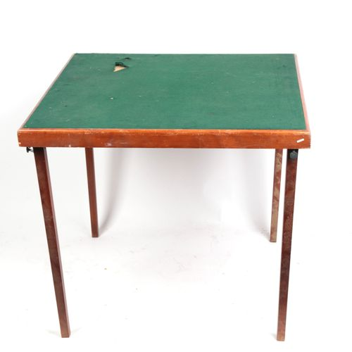"Game table, ""Bridge"" and ""card games"", green felt top, folding legs."