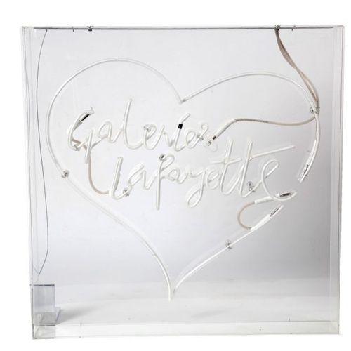 Galerie Lafayette, enseigne en néon, coffre en plexiglass. 70X70X10