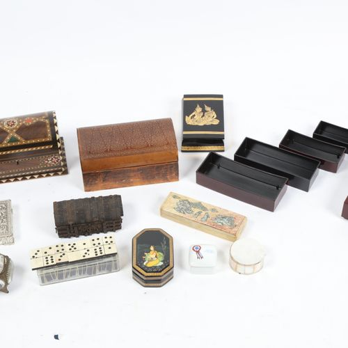 Set of 16 boxes, various materials (including dominoes box).