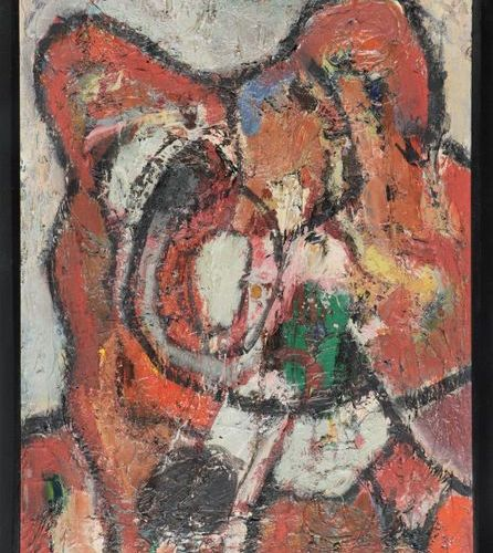 Chapon, J. (b.1914 2007). (Abstract composition). Painting, oil on canvas, 46x33…