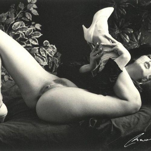 Pawelec, W. (1923 2004). (Reclining semi nude woman lifting her leg). Gelatin si…