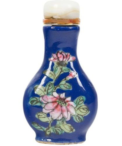A famille rose and blue enamel on glass 'flowering branches' snuff bottle. China…