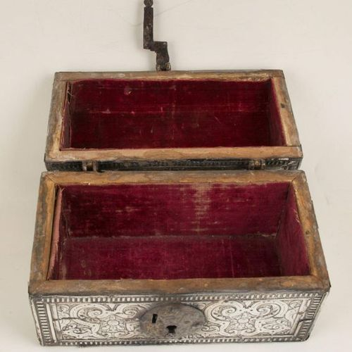 Silver covered wooden chest with gilded iron fittings. Colonial. 17th century. S…