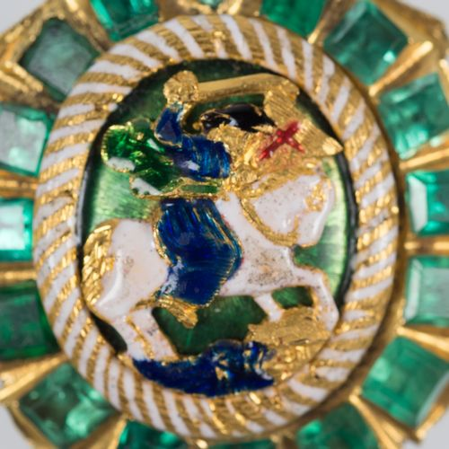 Large, gold reliquary pendant with emeralds and enamel. 17th century. Large, gol…