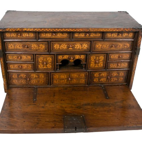 Wooden bargueño desk with bone incrustations and iron fittings. Asturias, Spain.…