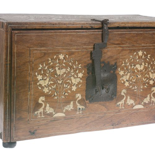Wooden bargueño desk with bone incrustations and iron fittings. Aragon, Spain. 1…