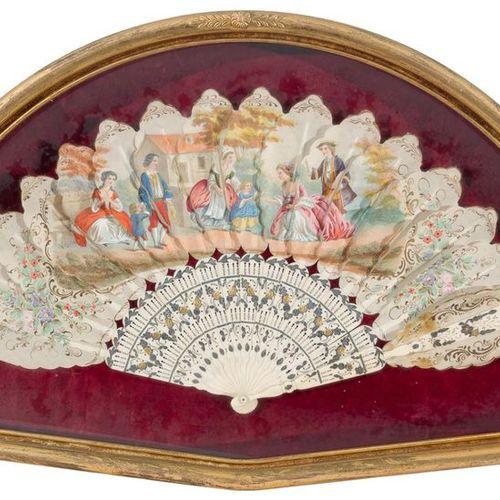 "Elizabethan fan in ""brisé"" type fan with bone rod with metal inlays, matching gu…"